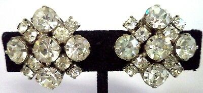 "Stunning Vintage Estate High End Rhinestone Flower 1"" Clip Earrings!!! G185H"