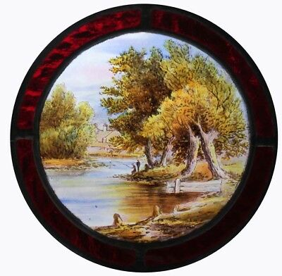 Stunning Victorian Painted English Lakeland Stained Glass Roundel