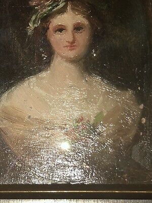 Antique Early 19Th Century Woman Portrait Hand Painted Brass Acorn Wooden Frame