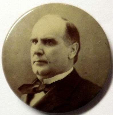 VTG William McKinley political campaign pin - button pin-lock pat. 1898 1 1/4 in