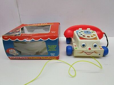 Vintage 1985 Fisher Price Chatter Telephone with Box