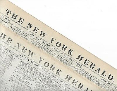 Evangelist Dwight L. Moody & Ira David Sankey In The News.  Two 1875 Ny Herald's
