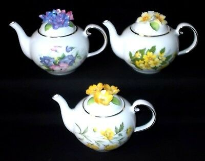 THREE Royal Stratford FLORAL LIDDED Teapots - Set Four