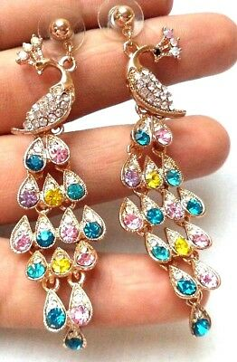 "Stunning Modern Estate Gold Tone Peacock Rhinestone 3 1/4"" Earrings!! 1538L"