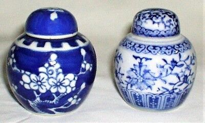 Blue and White Ginger Jars w/ Lids Chinese Porcelain Small Lot of 2