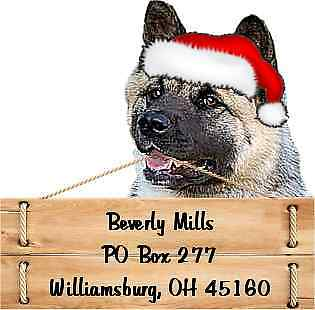 Akita Christmas return address labels die cut to shape of dog and sign