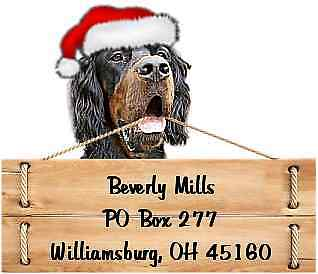 Gordon Setter Christmas return address labels die cut to shape of dog and sign