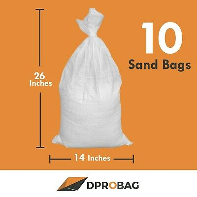 10 empty SandBags 14x26 inches 1600 UVI - 10 Poly Sand bags empty white with TIE