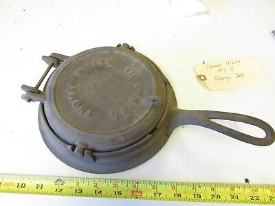Old Antique Cast Iron  Thomas  White   Quincy Illinios   Waffle Iron