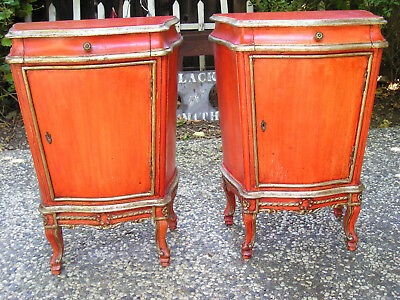 Antique Look French Boudoire Painted Wood Side Tables With Brass Hardware Rare