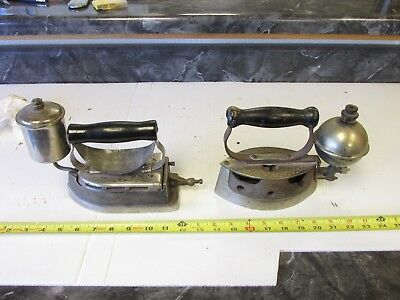 2 Old Antique  Gas   Clothe's  Iron    Comfort  &  Royal