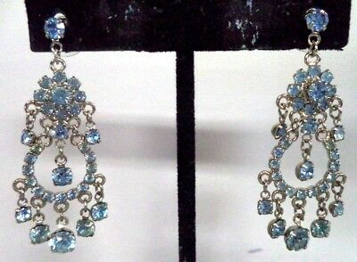 "Stunning Vintage Estate High End Rhinestone Dangle 1 3/4"" Post Earrings!!! G186V"