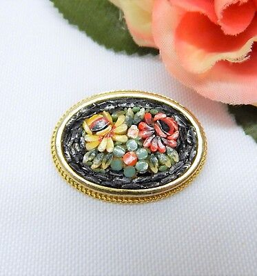 Vintage Gold Tone Colorful Micro Mosaic Flower Brooch