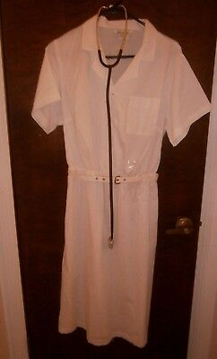 Halloween Costume Vintage Nurses Uniform Dress & Real Stethoscope Sz 18 1/2
