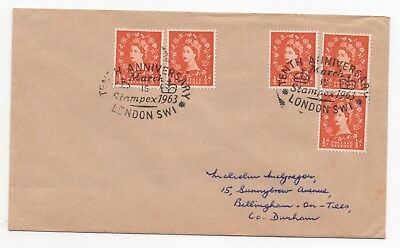1963 GB Event Cover STAMPEX Anniversary LONDON to BILLINGHAM ON TEES Philatelic