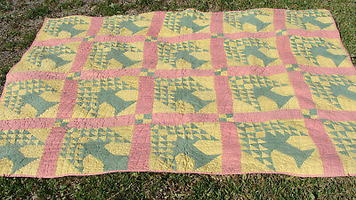 "antique Tree of Life all hand quilted quilt, 83"" x 67"", no reserve"