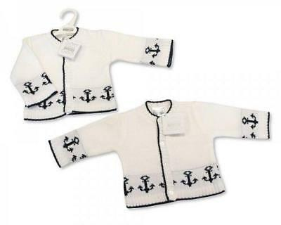 ONE Baby boys knitted nautical cardigan white & navy 0-3 months BNWT