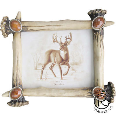 Rustic Deer Antler Picture Frame 4 X 6 Vertical Photo Gun Hunting