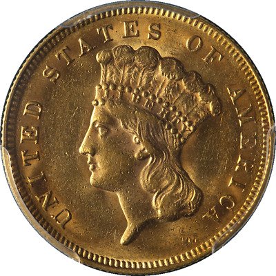 1878 Indian Princess Gold $3 PCGS MS62 Great Eye Appeal Fantastic Luster