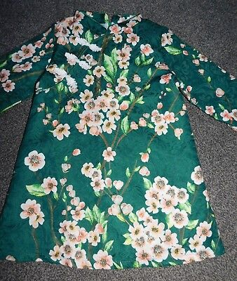 GIRLS  GREEN/MULTI FLORAL BLOSSOM Chinese style  DRESS AGE 5/6 YEAR NEW