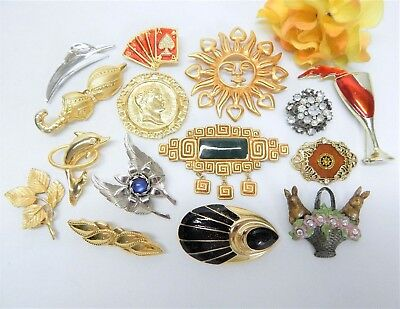 Fashion Jewelry Brooch Lot Vintage To Now Assorted Themes & Materials