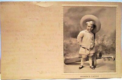 1908 Embossed Postcard Mamma's Caddie, Little Boy With Golf Clubs