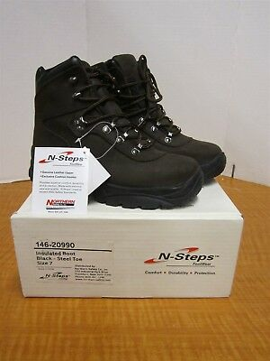 N-STEPS 146-20990 Insulated Steel Toe Boots, Womens Size 7, Leather Upper, NEW