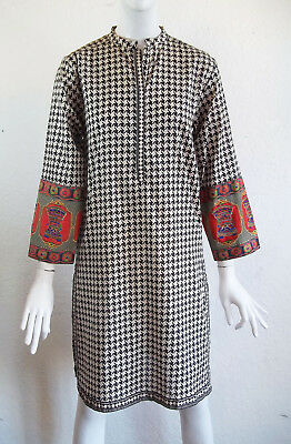 Nishat Linen Houndstooth Embroidered Sleeves Cotton KURTI Tunic Shirt Dress XS