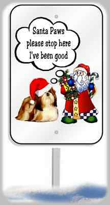 Shih Tzu Christmas yard sign metal 8x12 plaque Santa Paws