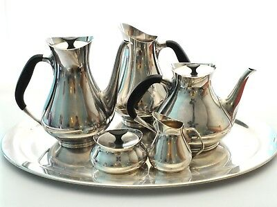 Cohr Danish 1950's Tea & Coffee Pot Water Pitcher Cream Sugar Tray Silverplate