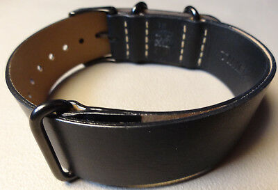 Mens Easy ONE PIECE 20mm LONG Timex T2P494 Watch Band Black Leather Weekender