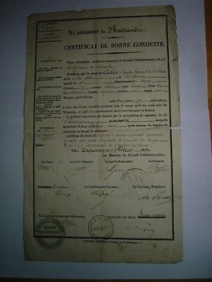 France Military Good Conduct document J Cahen 3rd Rgt Hussars Cavalry 1830-51
