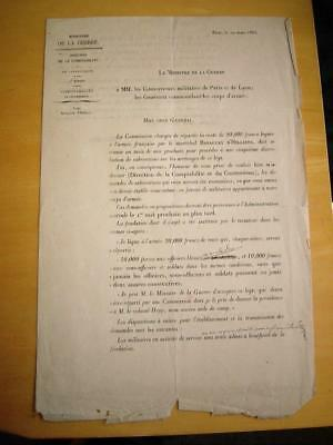 France Minister of war Military Document Pensions & wounded J Thibaudin 1883