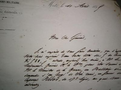 France Military order or request letter senior officer to a General in Metz 1845