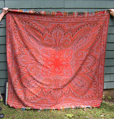 Antique 19th Century Paisley Textile Panel  TAPESTRY
