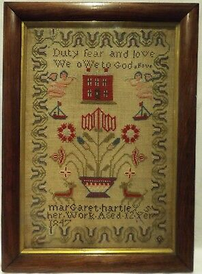 Mid 19Th Century Red House & Flower Basket Sampler By Margaret Hartley - 1847