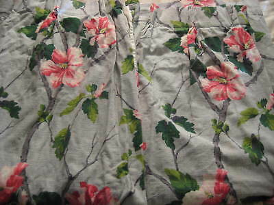 Vintage Barkcloth Fabric Pinch Pleated Draperies pair