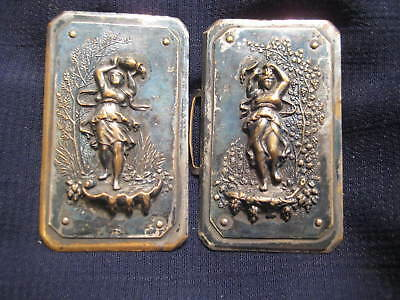Antique Art Nouveau Belt Buckle Woman in Well Pouring Water from Jug