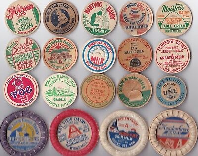 Lot Of 19 Scarce to Rare Old Milk Dairy Caps Mostly California, Oregon, Nevada