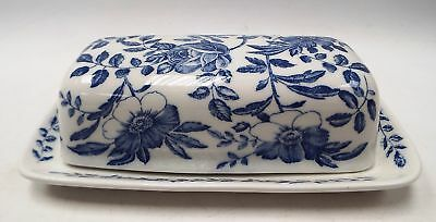 CHURCHILL Blue And White Pottery Butter Dish - C77