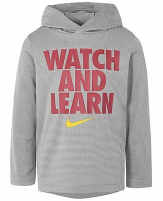 NWT Nike Toddler Boys Dri-FIT Watch and Learn Graphic Pullover Hoodie Gray 4T