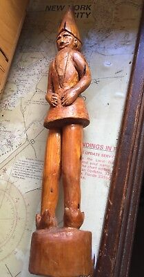 Antique Hand Carved Wooden Elf Gnome Bearded Man w/ Pointed Hat Sculpture