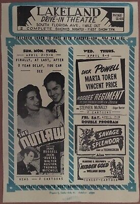 Drive In Movie Flyer~ Lakeland FL Drive~In Theatre ~ The Outlaw Jane Russell
