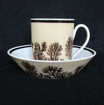Antique French Mochaware Cup & Saucer, Dendritic, tree like motif, 1800's