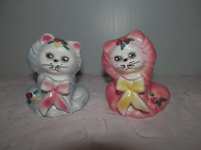 Vintage Kitten Cat Salt & Pepper Shakers Flowers Bows Pink Blue Anthropomorphic