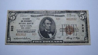 $5 1929 Newton New Jersey NJ National Currency Bank Note Bill Ch. #925 FINE!