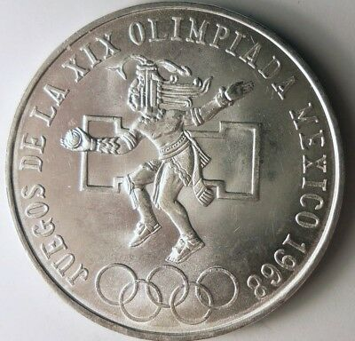 1968 MEXICO 25 PESOS - AU/UNC - Excellent One Year Crown Silver Coin - Lot #116