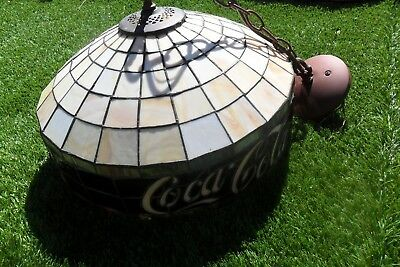 Coca-Cola Led stained Tiffany Glass Style  Lamp Real stained Glass Ceiling Light