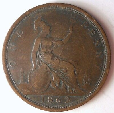 1862 GREAT BRITAIN PENNY - Quality Rare Date Coin - Big Value - Lot #116