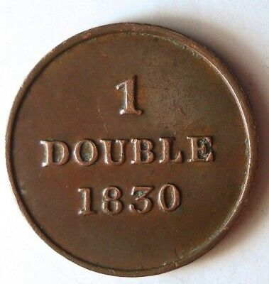 1830 GUERNSEY DOUBLE - EARLY DATE - AU - High Quality Scarce Coin - Lot #116